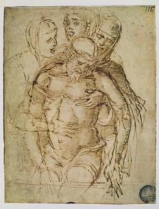 Andrea Mantegna - Cristo in pietà - penna e inchiostro bruno