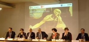Il tavolo dei relatori alla presentazione della Mostra su leonardo
