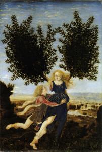 """Piero del Pollaiolo, Apollo e Dafne. Si notino le caratteristiche diverse rispetto all'opera di Antonio (sopra) """"Ercole e Anteo"""""""