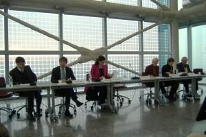 """Il tavolo dei relatori durante la presentazione della Mostra """"Fascino e Mito"""""""