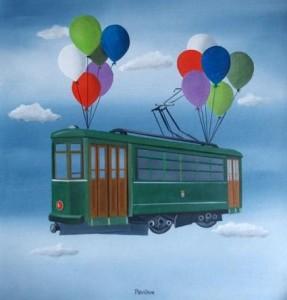 Un'opera di Carlo Trevisan: anche il tram vola nel cielo della fantasia