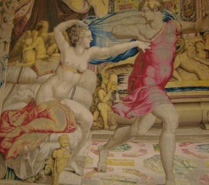 La moglie di Putifarre, nuda, provoca Giuseppe