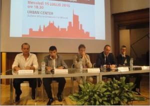 Gli oratori da sinistra: E.Novelli, C.Ferraro, F.Del Corno, G.Gallera e G.Bardelli