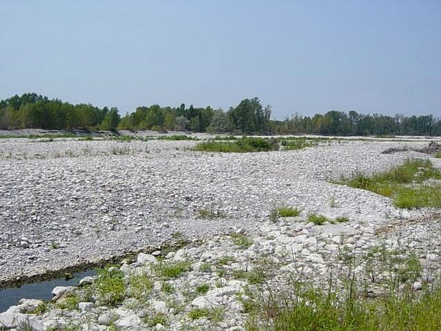 Il fiume Ticino quasi in secca