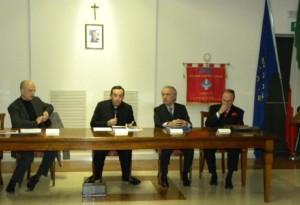 Gli oratori: S.Stefini, mons. S.Sanchirico, R.Montano e B.Maggiani