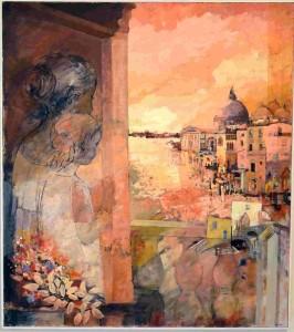 """L'opera di Bruno Zago """"Rosso veneziano"""", sullo sfondo il mare di Chioggia"""