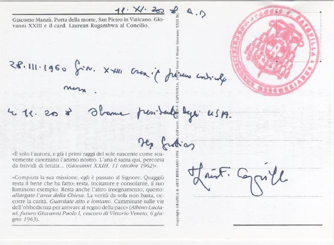 Cartolina firmata da Monsignor Capovilla riferimento a Obama