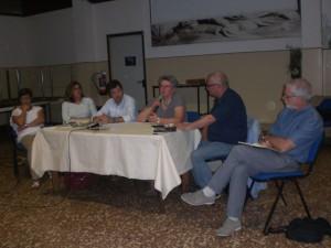 Gli oratori M. Pilli, R. Viaconzi, C. Ferraro, E. P. Bassani, A. L. Rossi e G. Cavalli