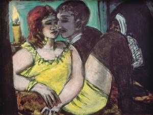 Köln, Museum Ludwig, Inv.-Nr. ML 76/3022, Max Beckmann, Liebespaar / Grün und Gelb / Einsamkeit / Käufliche Liebe, 1940-1943, Bild, Tafelmalerei, Öl Leinwand, 60 x 80 cm