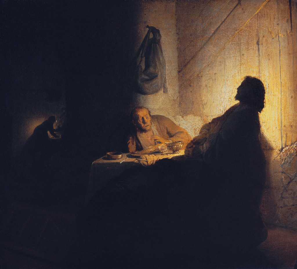 The supper at Emmaus *oil on paper on panel *39 x 42 cm *circa 1628 *signed b.r.: R  (indistinct)