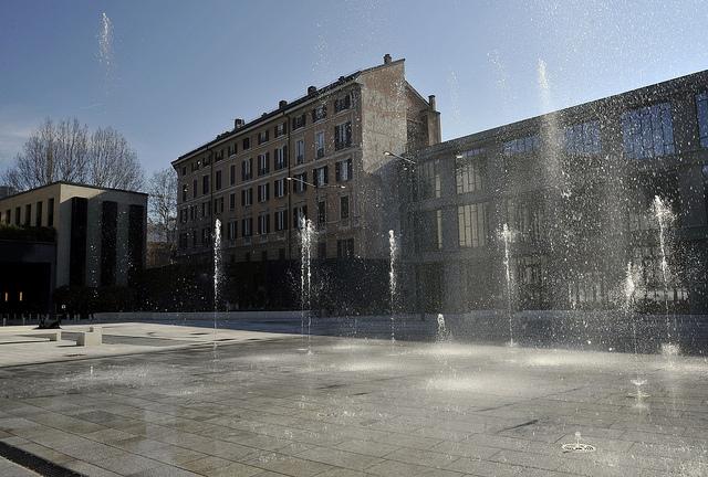 I giochi d'acqua della nuova piazza