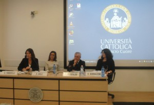 Gli oratori C Faravelli, A. Galli, A. Di Cataldo e D. Bornazzini
