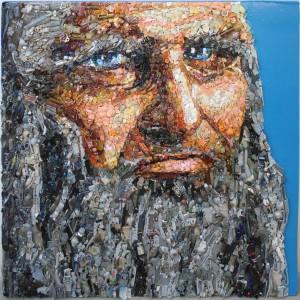 Leonardo Da Vinci 2016 oggetti e resina su tavola cm 80 x 80