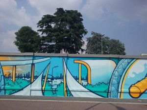 Particolari dello skyline milanese del murale