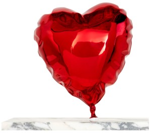 Mr.Brainwash-Balloon_Heart_Chrome_Red-painted_polished_bronze_on_marble_base-27.9 x 33 x 20.3 cm-2020-ES20-BH10-CR